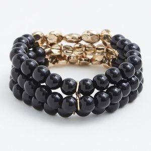 NWOT Torrid Black Beaded Triple Bracelet